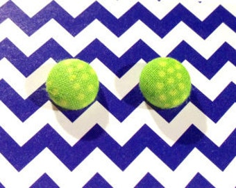 Lime Green Dotted Fabric Covered Button Stud Earrings 1/2 Inch - 12mm - Size 20