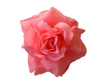 Salmon Pink Rose flower Hair Clip 4 Inch.