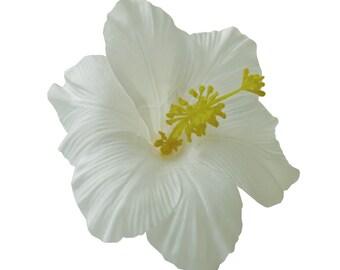 White Hawaiian Hibiscus  Realistic Flower Hair Clip