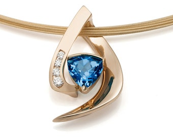 14K gold necklace - Swiss blue topaz - diamonds - December birthstone - contemporary jewelry - 3369