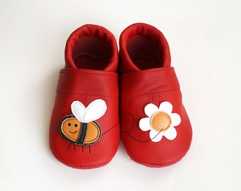 Bee Leather Baby Booties, Baby Shoes, Red Orange Flower Infant Newborn Children