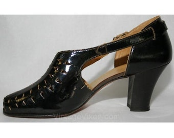 Size 5 1930s Shoes - Peep-Toe Black Patent Pumps with Diamond Cutwork - 30s Deadstock - Open Toe - Open Sides - High Heels - 28545-1