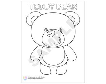 50% Off Sale! - PRINTABLE Teddy Bear Party Coloring Page - INSTANT DOWNLOAD
