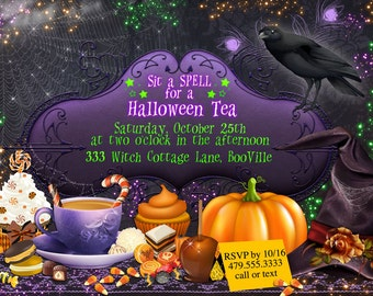 Halloween Tea Party, Halloween Party, All Hallows Eve, Halloween Invitations, Party Invitations, Halloween Invitation
