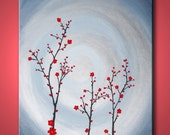 ON SALE, red cherry blossom - 20x16inch original modern painting, on stretched canvas, ready to hang
