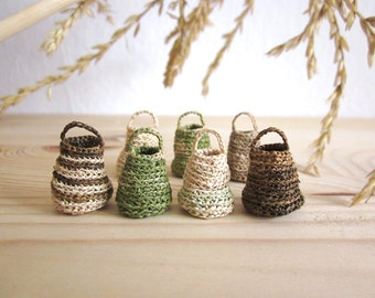 Miniature elf's baskets, home decor, natural, hand crochet, doll house, set of 7
