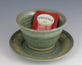 Small plate and bowl set, green