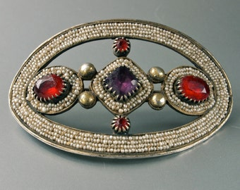 Rare 18th/19th C. Georgian Silver Hair Clasp/Dress Sash Hand Woven Tiny Seed Pearls Red, Purple Vauxhall Glass