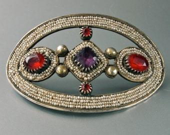 Rare Czech 18th/19th C. Georgian Silver Hair Clasp/Dress Sash Hand Woven Tiny Seed Pearls Red, Purple Vauxhall Glass