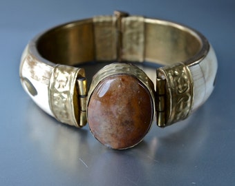Large Bracelet  Agate, Bone and Brass Tribal Hinge Bangle