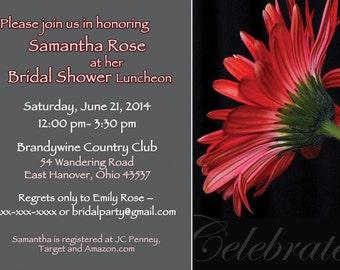 Gerber Daisy Save the Date Invites, Bridal Shower daisy invites,Bridal Shower flower invitation,Daisy Red invites,DIY PRINT,Bridal Invite