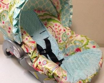 KUMARI GARDENS fabric & aqua MINKY Infant Car Seat Cover Ready to Ship