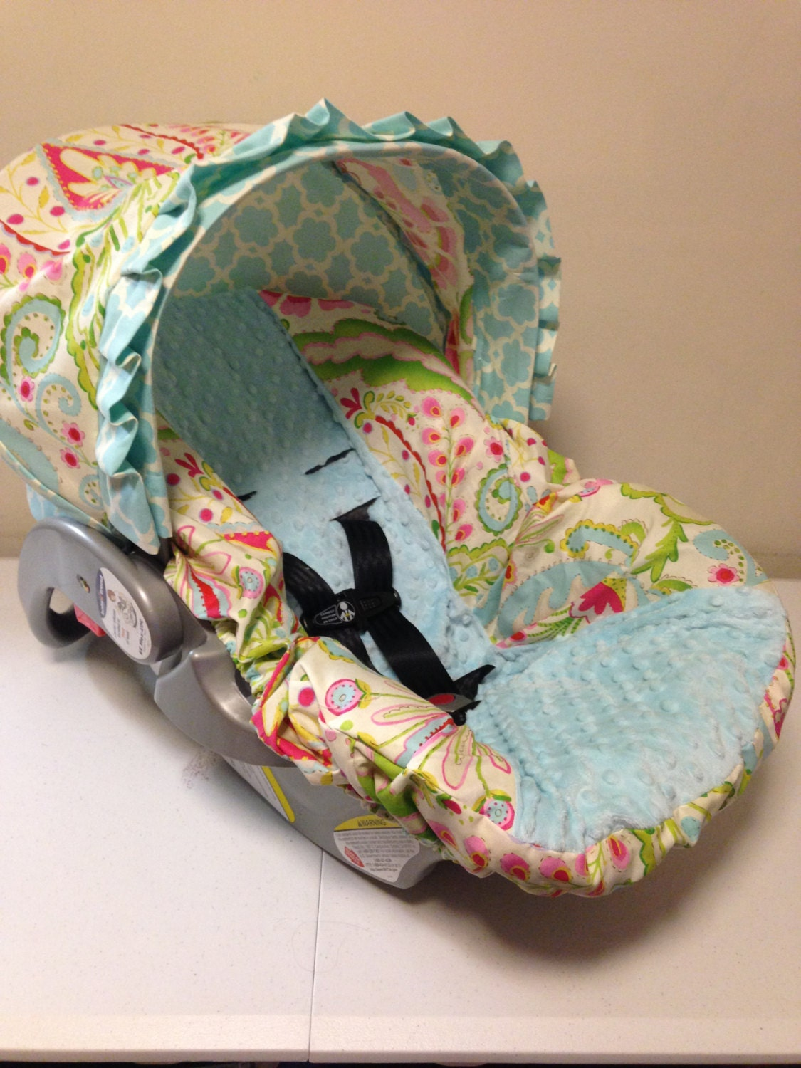 Kumari Gardens Fabric Amp Aqua Minky Infant Car Seat Cover