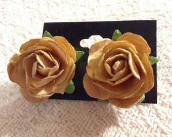 Yellow and Gold Paper Flower Post Earrings