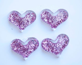 38mm Pink Glitter Heart Pendant for Chunky Necklace 4 ct