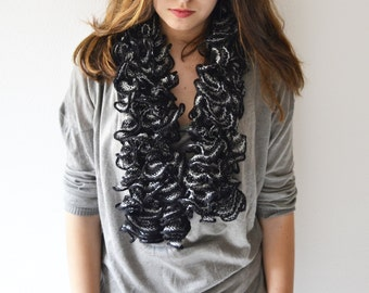 Ruffle scarf knit, ruffle lace women, women accessories