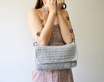 Shoulder grey bag Crochet messenger bag Handbag summer bag Woman accessories