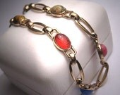 Vintage Scarab Bracelet Jasper Carnelian Gold Deco 14K Egyptian Revival