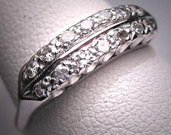 Antique Double Diamond Wedding Ring Band Art Deco 14K Engagement Anniversary 1930
