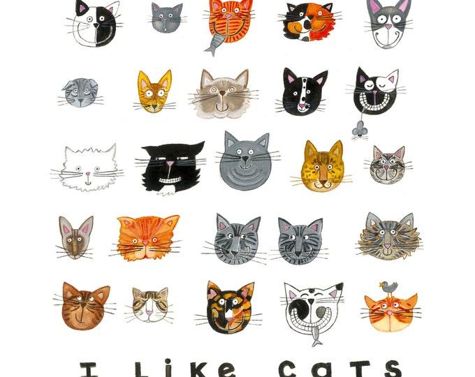 I Like Cats 12 x 12 Color Print