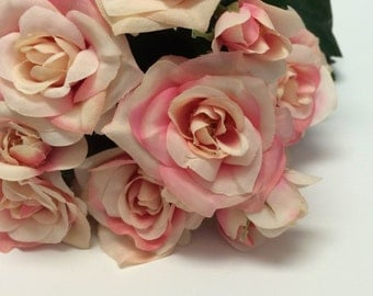 Silk Flowers - 15 Inch PINK and CREAM Rose Bush -  Artificial Flowers, Flower Crowns, Wedding Flowers