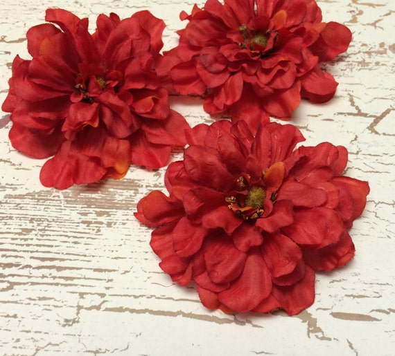 Silk Flowers - Three Zinnias in Tomato Red - Four Inches - Artificial Zinnias