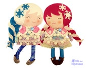 Snow Sisters Doll PDF Sewing Pattern - easy photo tutorial cotton felt girls diy toy