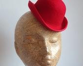 Felt Mini Bowler Hat  - Red