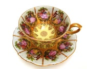 Royal Vintage Love Story China Teacup - Fragonard NC Yellow Pink Fancy Romantic Tea Party Cup Elegant Porcelain Couple Princess Queen