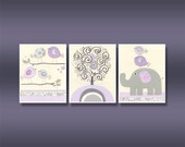 Wall pictures For Nursery Room in Purple: Set of 3 print Nursery Letters Prints, Dahlia Nursery, Baby Girl Room, purple and gray Lavender