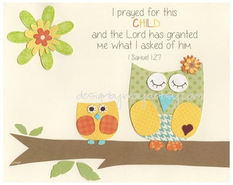 Baby Room Decor, Nursery Art, Treetop Friends, gender neutral prints for baby room, i prayed for, blue, green, yellow, orange, owl theme