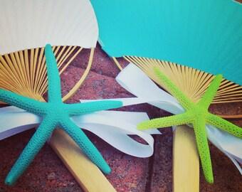 Paddle Fan with Starfish,  Wedding Ceremony Fan, Beach Wedding Fan