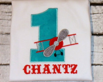 Boy's Vintage Airplane Birthday Shirt,  Choose your fabrics and colors, Ages 1-9 available