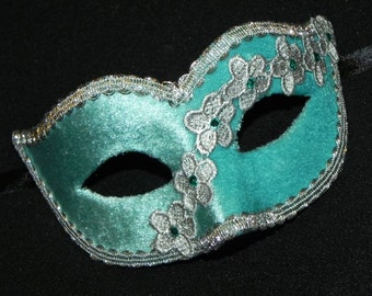 Masquerade Mask in Aqua and Silver with Velvet and Lace Accents