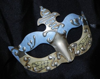 Masquerade Mask in Light Blue, Ivory and Silver with Musical Accents - Made to Order