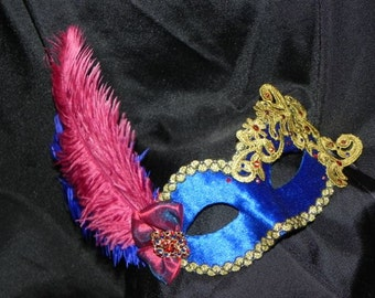 Lace and Feather Masquerade Mask in Royal Blue, Burgundy and Gold