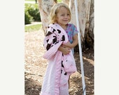 30% OFF Minky Baby Girl Stroller Blanket -- Pink Cow Print Minky with Pink Minky & Pink Satin Trim -- READY TO Ship