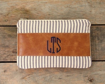 monogrammed clutch, stripes, faux leather, tan blue navy, nautical, makeup bag,spring summer fall fashion, rustic, bridesmaid