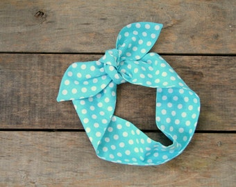 aqua and white polka dot headscarf, retro, tie up headband, adjustable, spring summer fashion, knotted headband