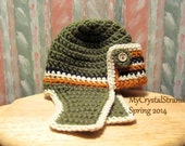 New - Buggs - Crochet Aviator/Bomber Hat in Rich Olive Green, w/ Rust and Cream and Black Stripes