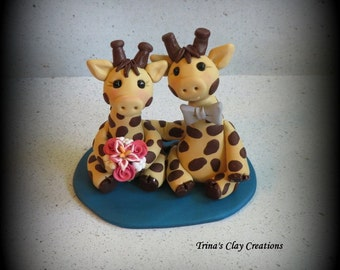 Wedding Cake Topper, Custom Cake Topper, Giraffe Cake Topper, Giraffe, Polymer Clay, Keepsake, Giraffe Bride and Groom