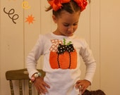 Minky Pumpkin Shirt ... Infant Toddler Youth Girl Sizes - You Choose Shirt Color