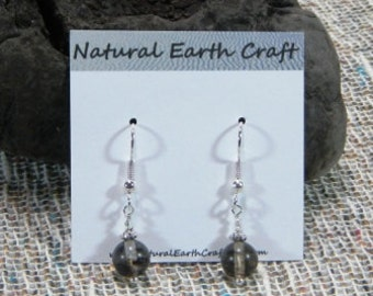 White and black clear quartz earrings smoky quartz rock crystal semiprecious stone jewelry packaged in a colorful gauze gift bag 2607 A B
