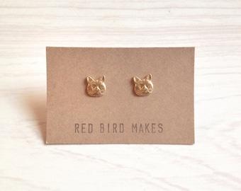 Minimalist Cat Brass Stud Earrings