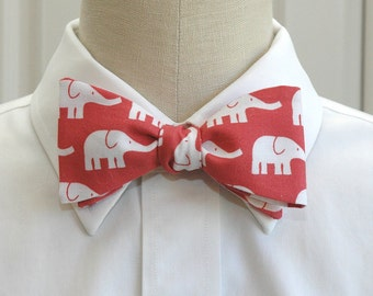 Men's Red Bow Tie, White elephants, Republican bow tie, Zoo wedding bow tie, Elephant lover gift, Elephant bow tie, Cute elephant bow tie