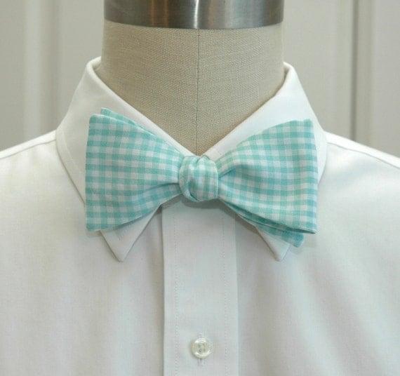 Men's Bow Tie in mint gingham (self-tie)