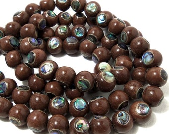 Magkuno Wood with Abalone Shell Inlay, Natural Wood, Round, Smooth, 10mm, Large, Half Strand, 20-21pcs - ID 1714