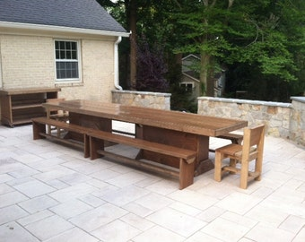 12 foot Patio table and bench set