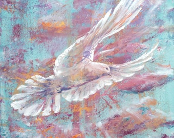 Peace colourful white dove in flight original painting on canvas / wall art in purple, turquoise