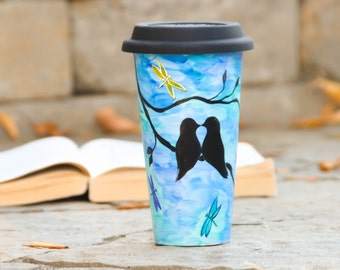 Made to Order Ceramic Travel mug - Love Birds Silhouette  - Hand Painted porcelain eco-cup  - romantic gift - mug with lid